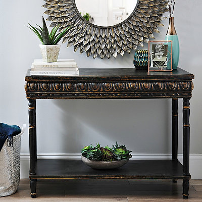 Black Regal 2-Tier Console Table