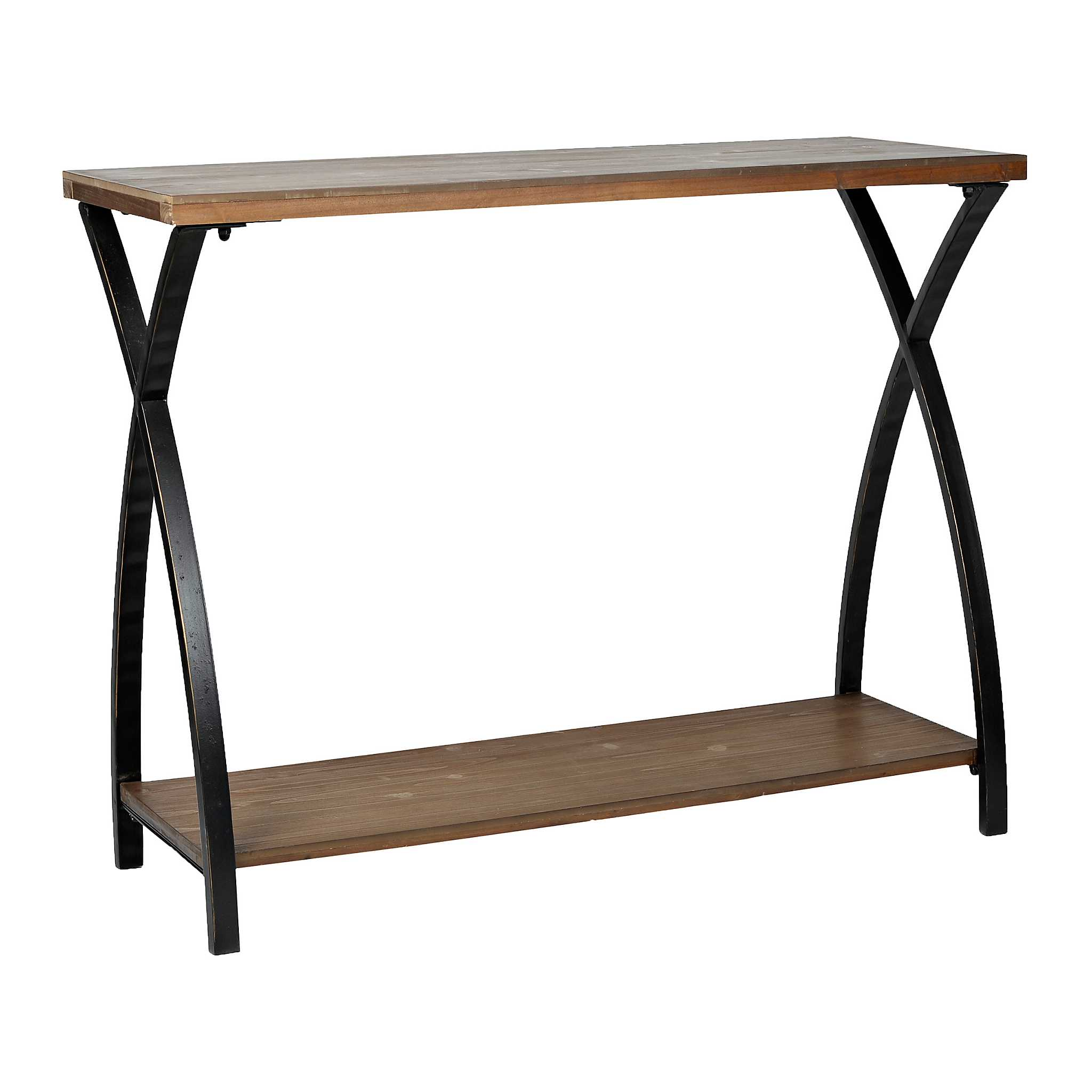 Logan x wood and metal console table kirklands for Sofa table kirklands