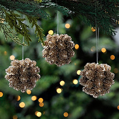 Frosted Pine Cone Ball Ornament, Set of 3
