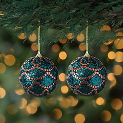 Peacock Blue and Copper Glam Ornaments, Set of 2