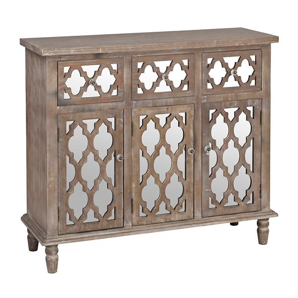 . Ella Mirrored Quatrefoil Cabinet   Kirklands