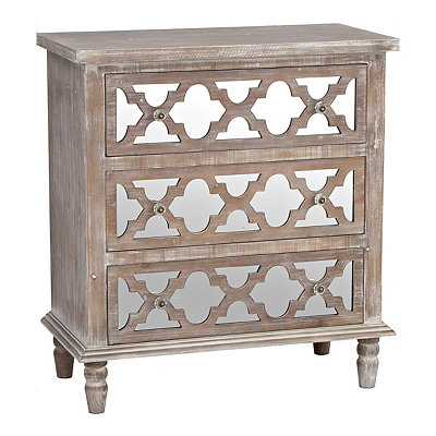 Ella Mirrored Quatrefoil 3-Drawer Chest