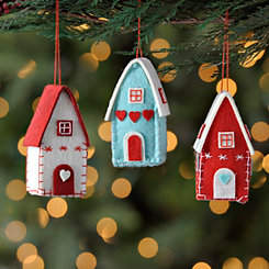 Stitched Felt House Ornaments, Set of 3