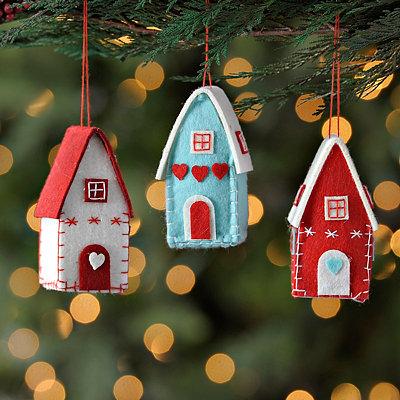Stitched Felt House Ornaments, Set of 3