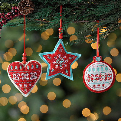 Stitched Felt Shape Ornaments, Set of 3