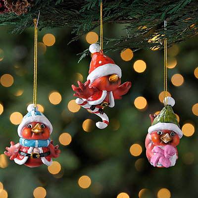 Santa's Little Cardinal Ornaments, Set of 3