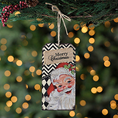 Retro Chevron Santa Ornament