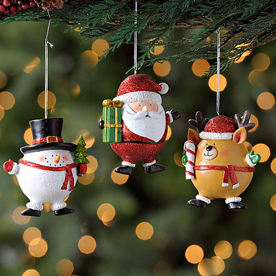 Christmas Character Ornaments, Set of 3