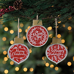Christmas Sentiment Ornaments, Set of 3