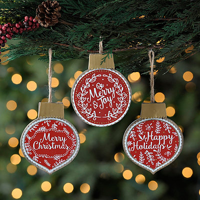 Christmas Sentiment Ornaments, Set of 3