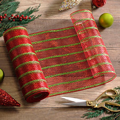 Red and Green Stripe Mesh Ribbon