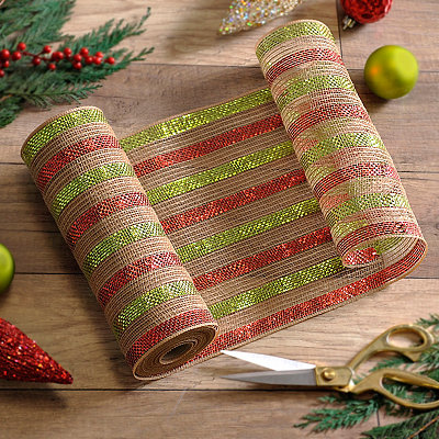 Burlap Red and Green Stripe Mesh Ribbon