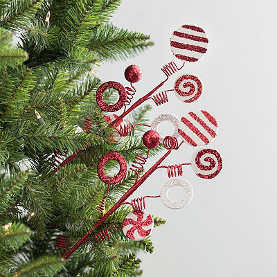 Red and White Ornament Glitter Picks, Set of 2