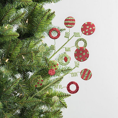 Red and Green Ornament Glitter Picks, Set of 2