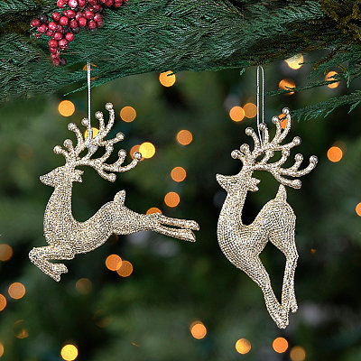 Champagne Sparkle Deer Ornaments, Set of 2