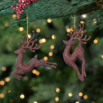 Bronze Sparkle Deer Ornaments, Set of 2