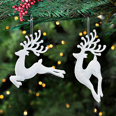 White Sparkle Deer Ornaments, Set of 2