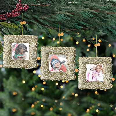 Gold Sequin Photo Frame Ornaments, Set of 3
