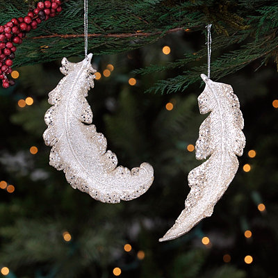 Champagne Feather Ornaments, Set of 2