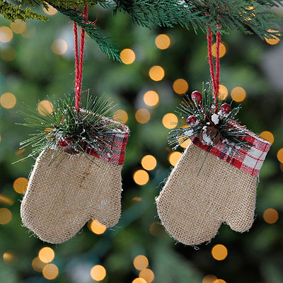 Mitten Gift Card Holder Ornaments, Set of 2