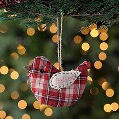 Believe Plaid Bird Ornament