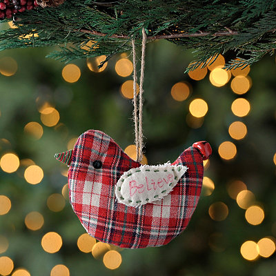 Believe Plaid Bird Ornament