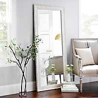 Ornate Distressed Cream Mirror, 30x64 in.
