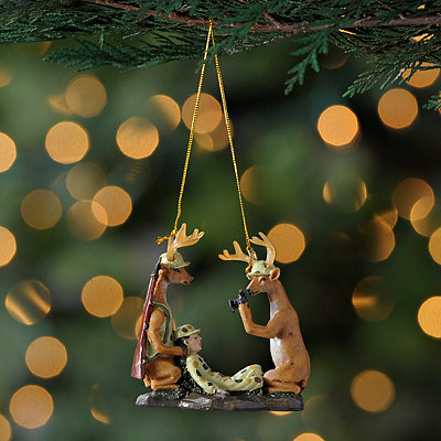 Deer and Hunter Camera Ornament