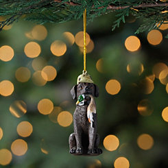 Brown Lab Hunting Dog Ornament