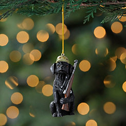 Black Lab Hunting Dog Ornament