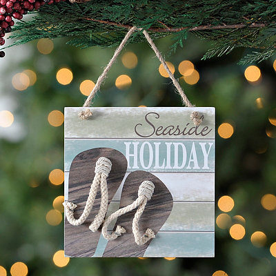 Seaside Holiday Beach Sign Ornament