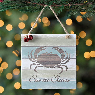 Santa Claws Beach Sign Ornament