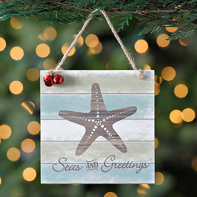 Seas and Greetings Beach Sign Ornament