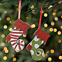 Elf Stocking Ornaments, Set of 2