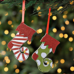 Elf Stocking Ornaments, Set of 2
