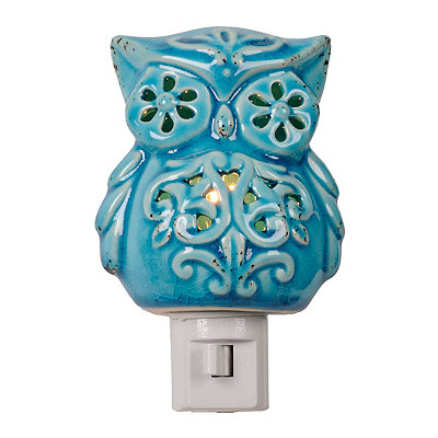 Blue Cutout Ceramic Owl Night Light