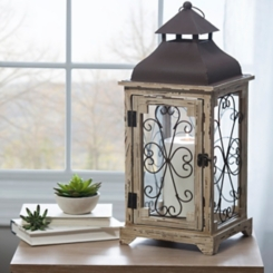 Distressed Cream Antique Scroll Lantern