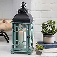 Distressed Turquoise Wood and Metal Lantern