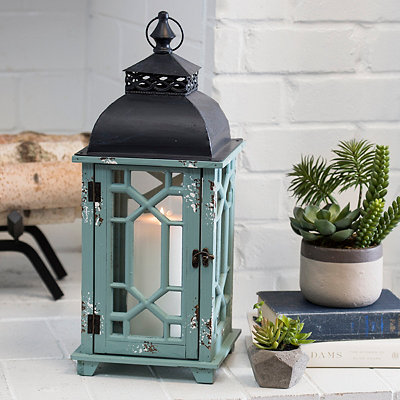 Distressed Turquoise Wood and Metal Lantern