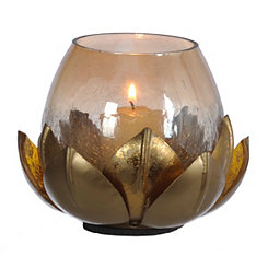 Amber Luster Flower Candle Holder