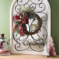Berry Plaid Ribbon Half Wreath