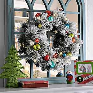 Pre-Lit Flocked Ornament Wreath