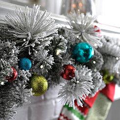 Pre-Lit Flocked Ornament Garland