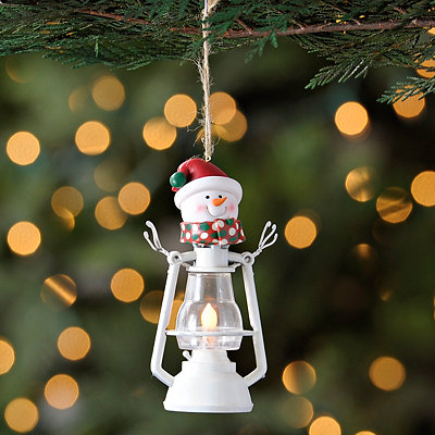 White Snowman Lantern Ornament