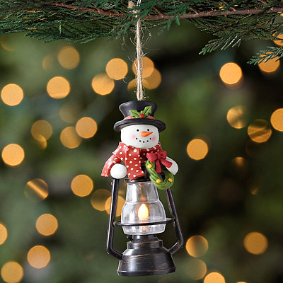 Black Snowman Lantern Ornament