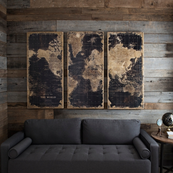 Wood art wood wall art wood wall decor kirklands world map wooden plaque set of 3 gumiabroncs Gallery