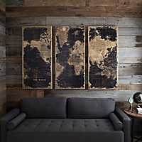 3 Pannel World Map Wooden Plaque