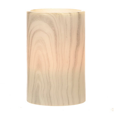 Gray Marble LED Wide Pillar Candle, 6 in.