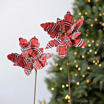 Jingle Bells Poinsettia Stems, Set of 2