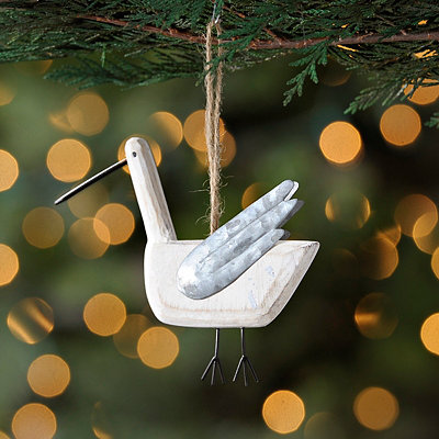 White Wood Bird Ornament